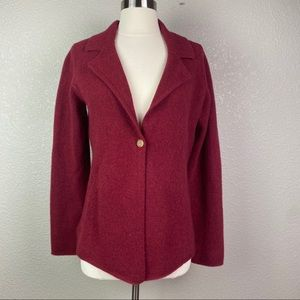 Eileen Fisher Small Red Wool Cashmere Cardigan